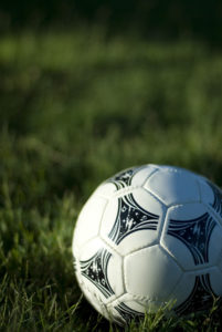 a white leather football sat on a grass background